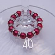 40th Birthday Wine Glass Charm - Full Sparkle Style
